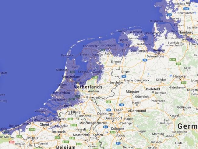 Holland bei einem Anstieg des Meeresspiegels um 2 Meter